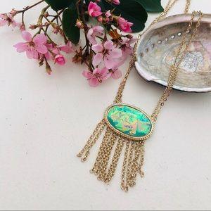 Green Gold Iridescent Fringe Necklace